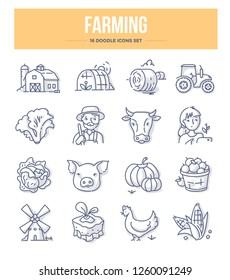 Agriculture and farming doodle icons collection. Village farm, farmers, livestock and organic food. Vector hand drawn illustrations for website and printing materials