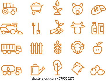 Agriculture and farming icon set