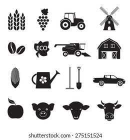 Agriculture and farming icon set. Black icons isolated on white background. Vector illustration.