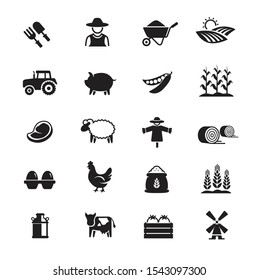 Agriculture and Farming icons on White background.