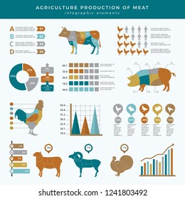 Agriculture farming infographic. Food animals farm technology nutrition business infographic template table chart with place for text