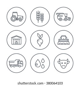 Agriculture, farming line icons in circles, tractor, harvest, cattle, agricultural machinery icons, vector illustration