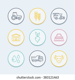 Agriculture, farming line icons, tractor, harvest, cattle, agricultural machinery, agribusiness round color icons, vector illustration