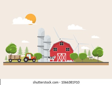 Agriculture and Farming in rural landscape scene design. natural and organic dairy farm. Vector illustration.