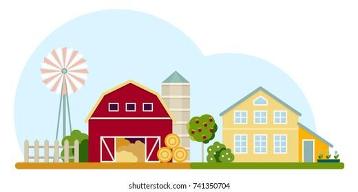 Agriculture and Farming. Rural landscape. Vector illustration.