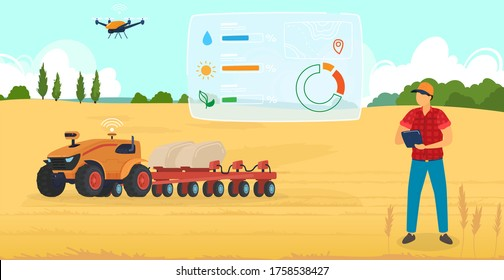 Agriculture farming vector illustration. Cartoon flat man farmer character using robot drone, checking harvest on wheat cultivated organic farm field, modern digital agricultural technology background