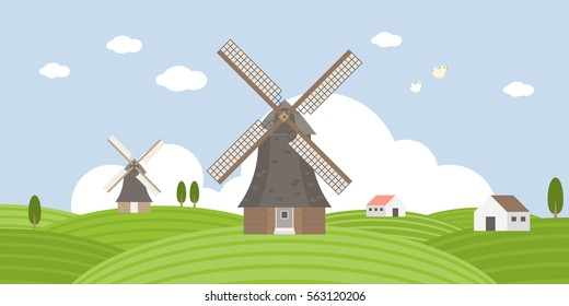 Agriculture and Farming of wind mill and field landscape Info graphic, flat design and elements