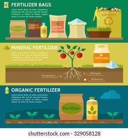 Agriculture, Fertilizer bag, Compost, Mulch. Organic fertilizer. Mineral fertilizer. Vector illustration.