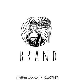 Agriculture goddess vector logo template