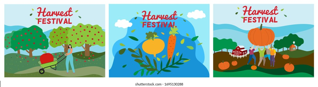 Agriculture harvest festival vector illustration. Cartoon woman man active character harvesting, working in apple autumn garden or farm field, tiny people holding pumpkin. Agricultural fest poster set
