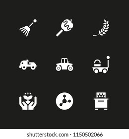 agriculture icon. 9 agriculture set with wheat, tractor, farming and gardening and bee hive vector icons for web and mobile app