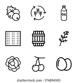 Agriculture icon. Set of 9 Agriculture outline icons such as field, harvest, egg, currant, cherry, cabbage, deel, oil