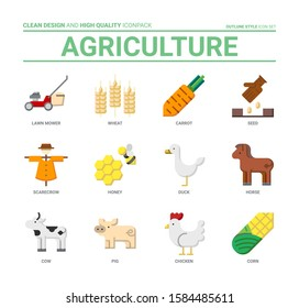 Agriculture icon set, clean design and high quality iconpack