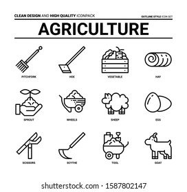 Agriculture icon set, clean design and high quality icon pack