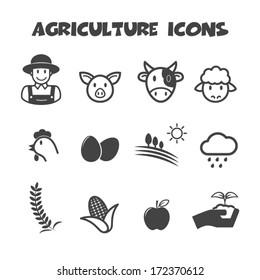 agriculture icons, mono vector symbols