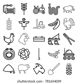 Agriculture icons. set of 25 editable outline agriculture icons such as wheat, chicken, barn, cabbage, tractor, scarecrow, goat, hoe, garden tools, water hose, ground heap