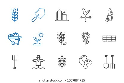 agriculture icons set. Collection of agriculture with shovel, beans, wheat, scarecrow, garden, hay bale, sunflower, sprout, wheelbarrow. Editable and scalable agriculture icons.