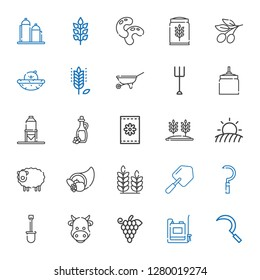 agriculture icons set. Collection of agriculture with sickle, sprayer, grapes, cow, shovel, wheat, cornucopia, sheep, field, seeds, olive oil. Editable and scalable agriculture icons.