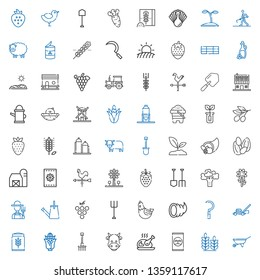 agriculture icons set. Collection of agriculture with wheelbarrow, wheat, fertilizer, turkey, cow, rake, corn, lawnmower, sickle, cornucopia. Editable and scalable agriculture icons.