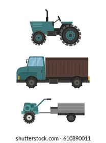 Agriculture industrial farm equipment machinery tractor vector illustration.