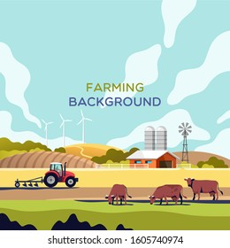 Agriculture industry, farming and animal husbandry concept. Rural landscape with copy space for text. Vector illustration.