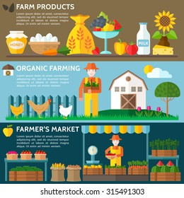 Agriculture landscape with barn house. Organic farming eco concept. Organic milk, farm fresh products, locally grown and organic food. Farmer's Market. Vector Flat style illustration.