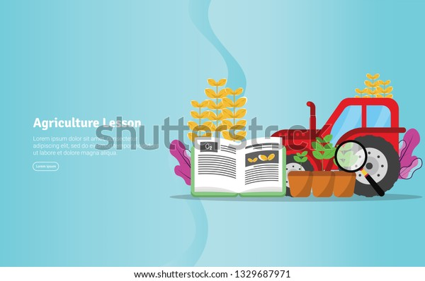 Agriculture Lesson Concept Educational and Scientific Illustration Banner, Suitable For Wallpaper, Banner, Background, Card, Book Illustration or Web Landing Page