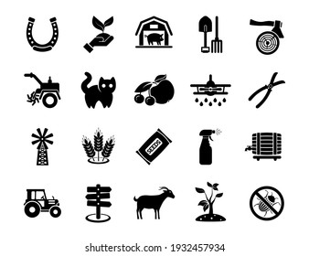 Agriculture linear icons set. Farming. Agricultural symbols. Isolated vector outline illustrations