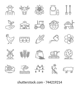 Agriculture linear icons set. Farming. Agricultural implement. Thin line contour symbols. Isolated vector outline illustrations. Editable stroke