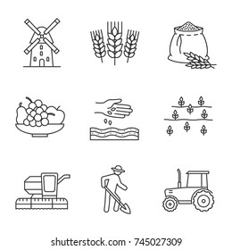Agriculture linear icons set. Farming. Windmill, ears of wheat, flour bag, fruits, sowing, field, combine harvester, farmer, tractor. Thin line contour symbols. Isolated vector outline illustrations