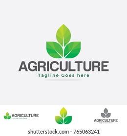 agriculture logo illustration. farm logo. leaf logo.