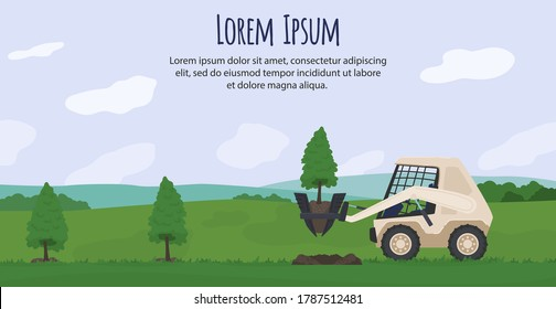 Agriculture machinery vector illustration. Cartoon flat agrarian tractor machine planting green tree, working in countryside farmland landscape, robotic automation agricultural technology background