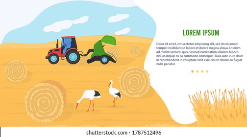 Agriculture machinery vector illustration. Cartoon flat agricultural agrarian tractor transporting hay bale haystack, harvesting machine working in organic farm field, farmland technology banner