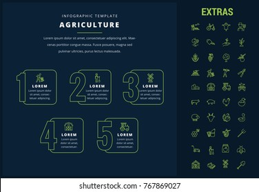 Agriculture options infographic template, elements and icons. Infograph includes options, line icon set with agriculture food, farm animal, agricultural business, farming tools, organic fruit etc.