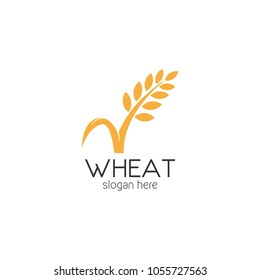 Agriculture Organic Wheat Logo Template Vector Icon Design
