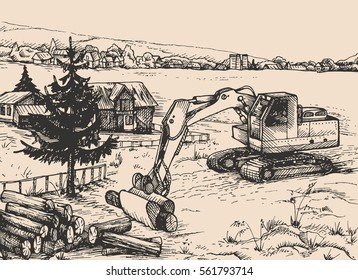 agriculture, rural village Landscape, vector illustration for your application , project