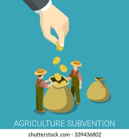 Agriculture subvention farming business government isometry concept flat 3d isometric web infographics vector illustration. Big hand seed to farmers bag. Creative people collection.