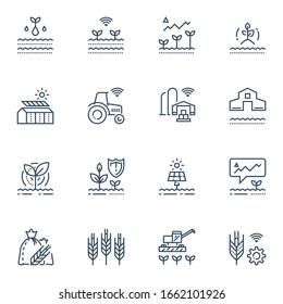 Landtechnik und Innovation, Agrritech-Konzept, Automatisierungssystem, Ertragsverbesserungen, intelligente Maschinen, Hothouse mit Solarpaneelen, Wirtschaftlichkeit der Landwirtschaft, Erntesteigerung, Vektorillustration-Linie-Symbol-Set