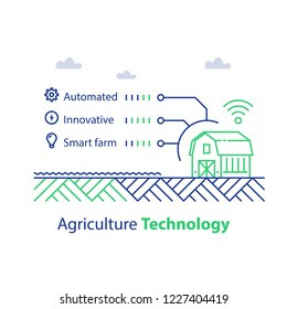 Agriculture technology, smart farming, barn house and wireless signal, infographic concept, automated and innovative solution, harvest improvement, vector line icon