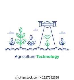 Agriculture technology, smart farming, plant stem and flying drone, innovation concept, automation solution, growth control, crop improvement, vector line icon