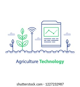 Agriculture technology, smart farming, plant stem and report chart, innovation concept, automation solution, growth control, crop improvement, vector line icon