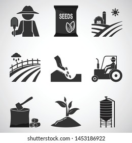 Agriculture and tractor icons set illustration