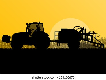 Agriculture tractor spraying pesticides in cultivated country corn field landscape background illustration vector