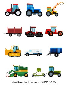 Agriculture tractor vector industrial farm equipment harvest machine tractors combines and farmers machinery excavators illustration.