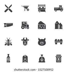 Agriculture vector icons set, modern solid symbol collection, filled style pictogram pack. Signs, logo illustration. Set includes icons as wheelbarrow, tractor, truck, milk bottle, cow, pig, chicken