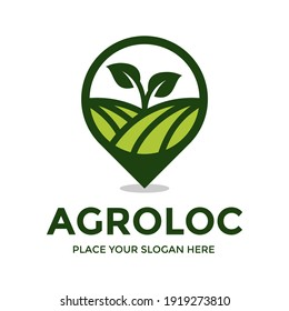 Agriculture vector logo template. This design use location or map symbol. Suitable for nature or environment.