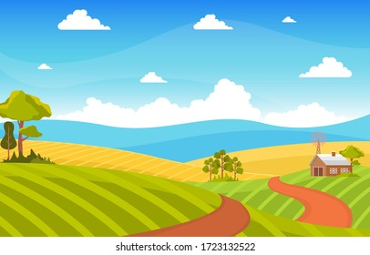 Agriculture Wheat Field Farm Rural Nature Scene Landscape Illustration