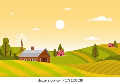Agriculture Wheat Field Farm Rural Nature Scene Landscape Illustration