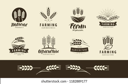 Agriculture, wheat logo or label. Farm, farming set of icons. Vector illustration