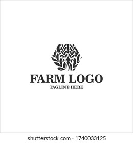 Agriculture wheat logo vector illustration isolated on white for farm logo